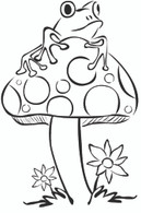 Frog on Mushroom - Red Rubber Stamp