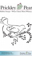 Dove on Vine Looking Down - Red Rubber Stamp