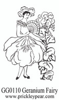 Geranium Fairy - Red Rubber Stamp