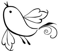 Swirly Bird - Red Rubber Stamp