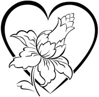 Jacobean Heart 2 - Red Rubber Stamp