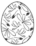 Rosebud and Dragonfly Egg - Red Rubber Stamp