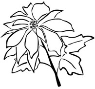 Poinsettia - Red Rubber Stamp