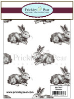 Bunnies Background - Red Rubber Stamp