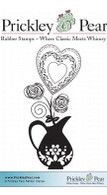 Vase with Heart - Red Rubber Stamp