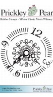 Gears Clock Face - Red Rubber Stamp