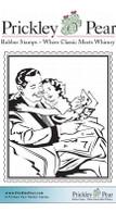 Vintage Girl & Dad - Red Rubber Stamp