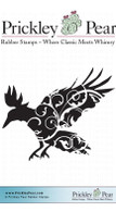 Flourished Raven, Small - Red Rubber Stamp