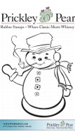 Snowman with Pipe, Small - Red Rubber Stamp