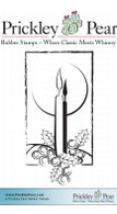 Candle with Holly - Red Rubber Stamp