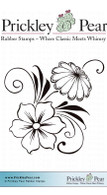 Flower Swag, Small - Red Rubber Stamp