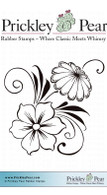Flower Swag - Red Rubber Stamp