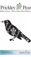 Flourished Crow - Red Rubber Stamp