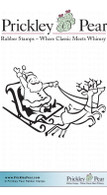 Santa & Reindeer - Red Rubber Stamp