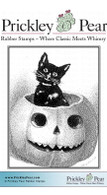 Cat & Pumpkin - Red Rubber Stamp
