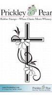 Cross with Black Eye Susans, Small - Red Rubber Stamp