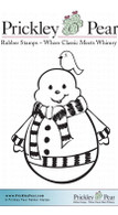 Jolly Snowman - Red Rubber Stamp