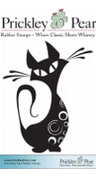 Swirly Cat - Red Rubber Stamp