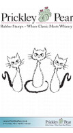 3 Fradey Cats - Red Rubber Stamp