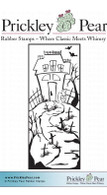 Haunted House in Graveyard - Red Rubber Stamp