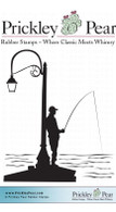 Fishing on a Pier - Red Rubber Stamp