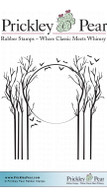 Trees in the Moonlight - Red Rubber Stamp