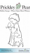 Child with Lamb, Small - Red Rubber Stamp