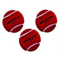 Nivia Red Heavy Tennis Cricket Ball (3 Pack)