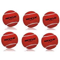 Nivia Red Heavy Tennis Cricket Ball (6 Pack)