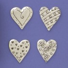 Basic Spirit Fine Pewter 4 Medium Hearts Magnet Set MM-85