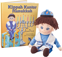 Kippah Kantor Hanukkah Book and Doll Set