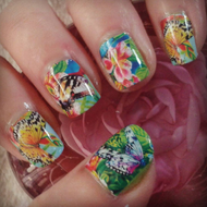 Butterfly garden nail art wraps