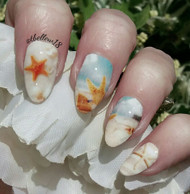 On the beach nail art wrap blog by Tracey Bellew
