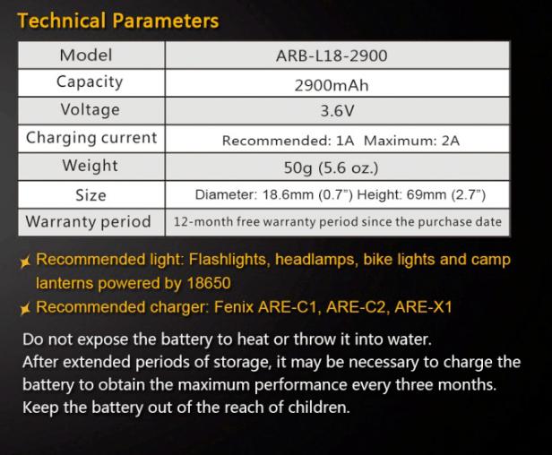 Fenix ARB-18-2900 18650 Battery