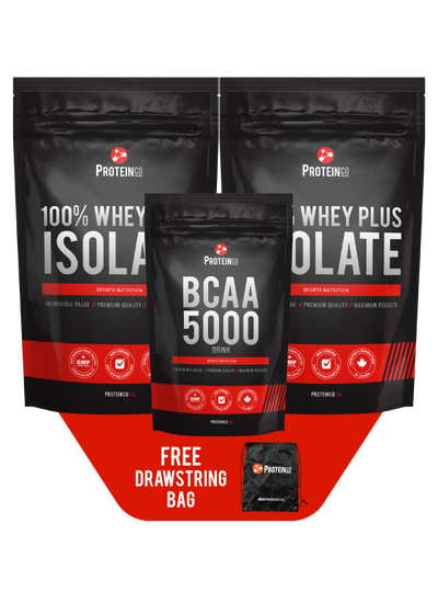 2 x  100% Whey Plus Isolate + BCAA 5000 + Free Drawstring Bag
