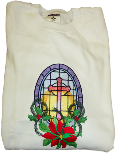 Christmas Sweatshirt - Stained Glass with Poinsettia