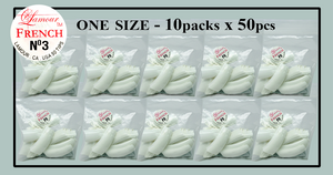 Lamour French Tip One Size - 10 Packs (50 per pack). Size #3