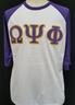 Omega Psi Phi Fraternity Baseball Shirt-White