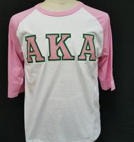 Alpha Kappa Alpha AKA Sorority Baseball Shirt-White