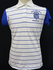 Zeta Phi Beta Sorority Striped Polo- Blue/White