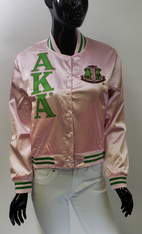 Alpha Kappa Alpha AKA Sorority Satin Jacket- Pink