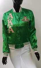 Alpha Kappa Alpha AKA Sorority Satin Jacket- Green