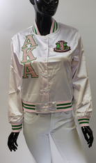 Alpha Kappa Alpha AKA Sorority Satin Jacket- White