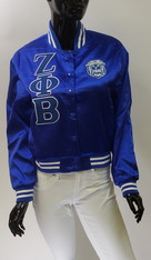 Zeta Phi Beta Sorority Satin Jacket- Blue
