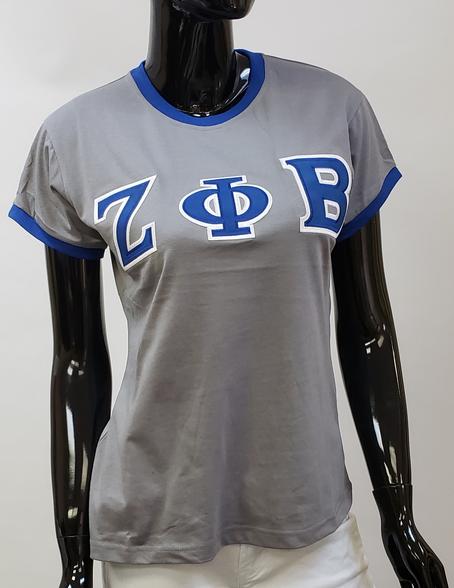 Zeta Phi Beta Sorority Ringer T-shirt-Gray