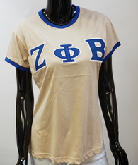 Zeta Phi Beta Sorority Ringer T-shirt-Khaki