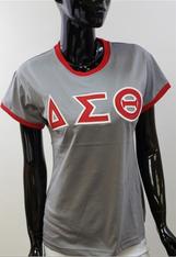 Delta Sigma Theta Sorority Ringer T-shirt- Gray