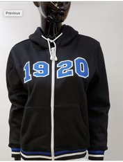 Zeta Phi Beta Sorority Zip Up Hoodie-Black