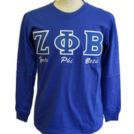 Zeta Phi Beta Sorority Long Sleeve Shirt- Blue