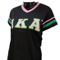 Alpha Kappa Alpha AKA Sorority V-Neck with Stripes- Black